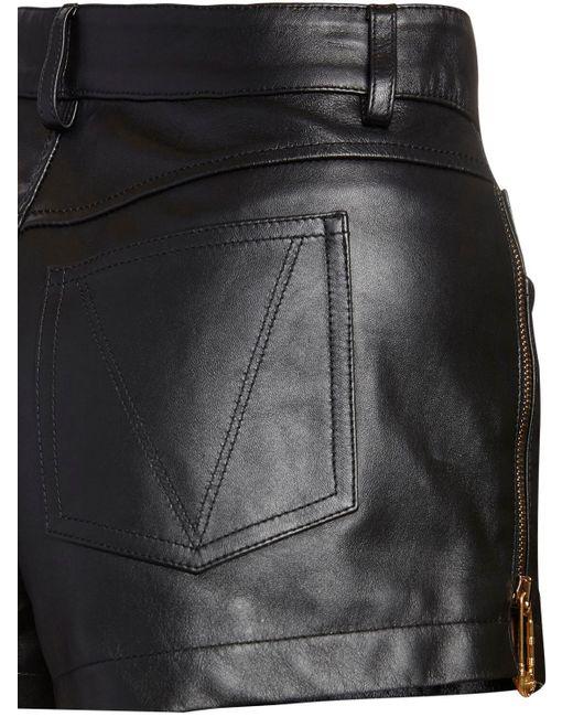 Versace レザーショートパンツ Black