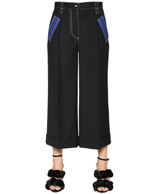 Marco De Vincenzo - Black Pinstriped Cool Wool Cropped Pants - Lyst