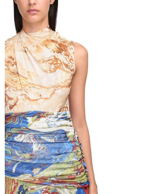 Jil Sander Blue Printed Silk Jersey Long Dress