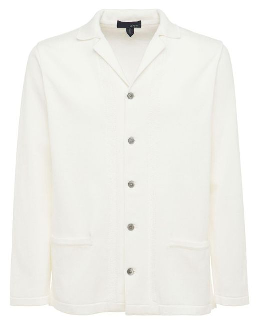 メンズ Lardini コットンニットジャケット White