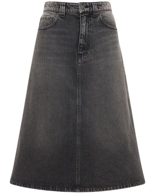 Юбка Миди Из Хлопкового Денима Balenciaga, цвет: Black