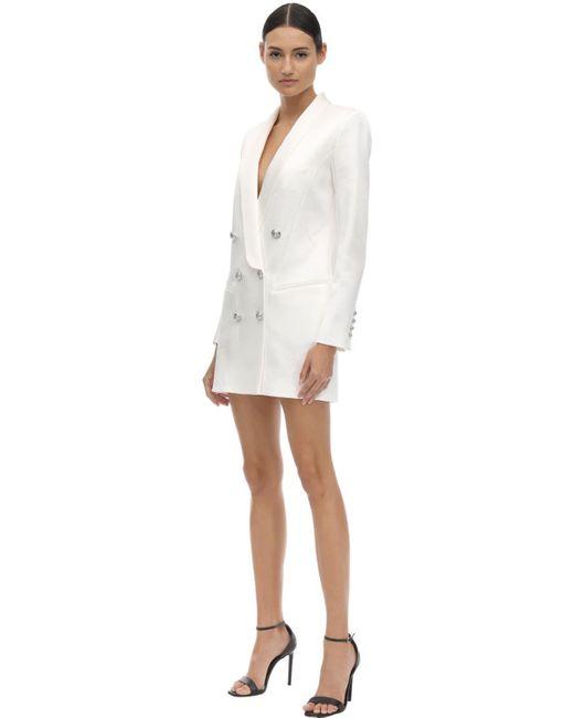 Balmain サテン ダブルブレストブレザードレス White