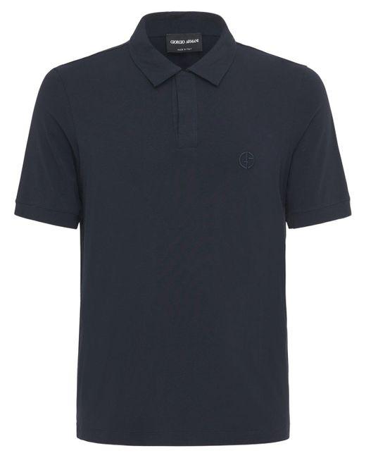 メンズ Giorgio Armani ビスコースポロシャツ Blue