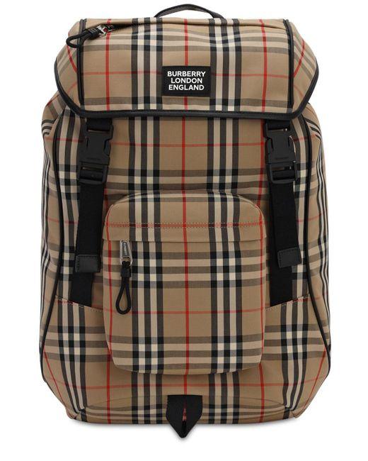 Burberry Multicolor Logo Detail Vintage Check Backpack for men