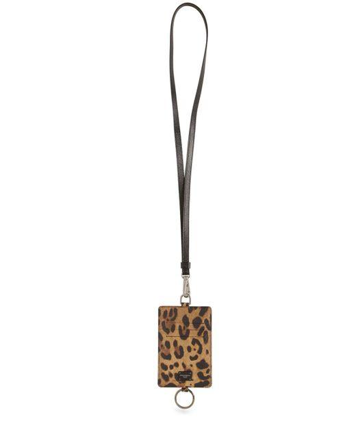 メンズ Dolce & Gabbana レザーカードホルダー Brown