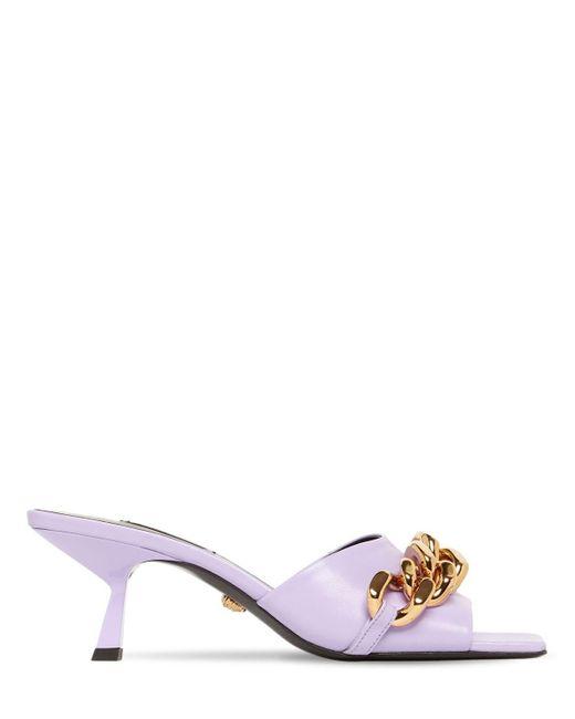 Кожаные Туфли-мюли 55mm Versace, цвет: Purple