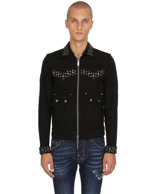 メンズ DSquared² コットンデニムジャケット Black