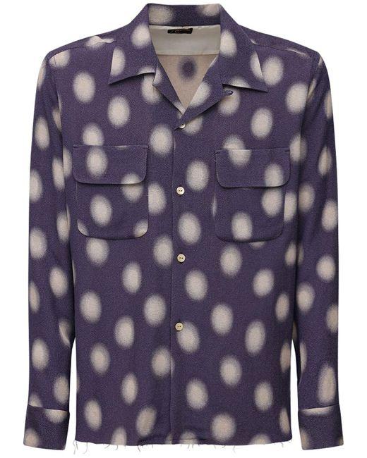 Camicia In Misto Cupro A Pois di Needles in Purple da Uomo