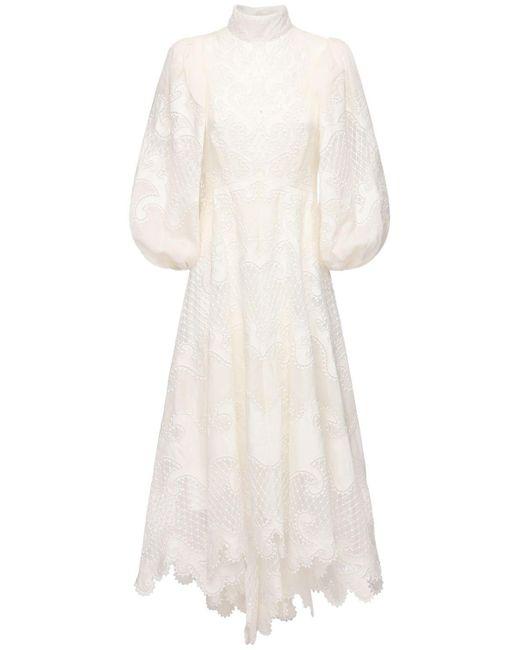 Zimmermann White Embroidered Linen Dress