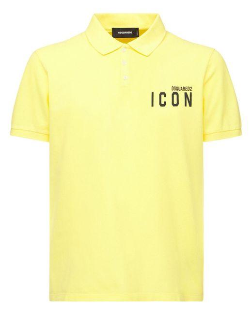 メンズ DSquared² Mini Icon コットンピケポロ Yellow