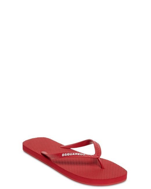 メンズ DSquared² ラバービーチサンダル Red