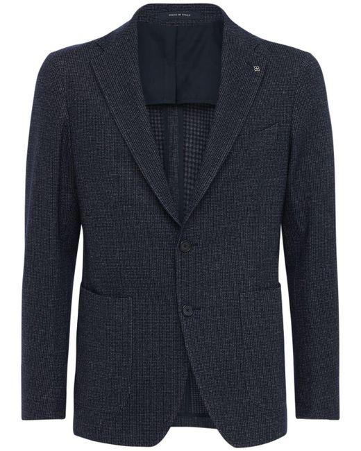 メンズ Tagliatore ウール&コットンジャージージャケット Blue