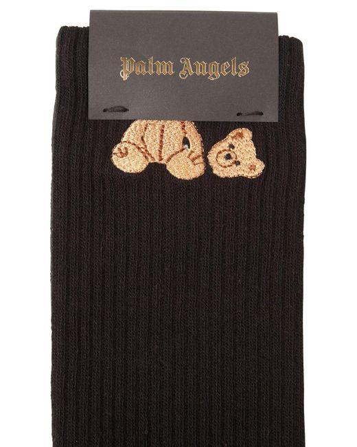 メンズ Palm Angels Bear コットンブレンドソックス Black