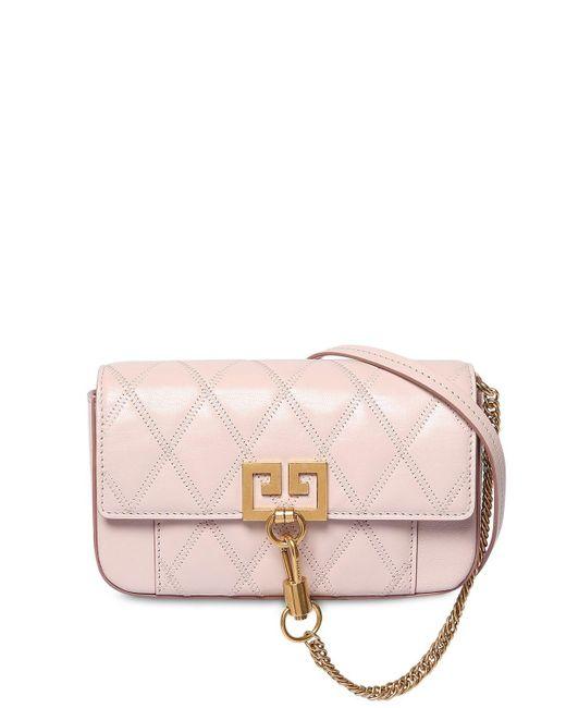 Givenchy Pocket ミニ キルトレザーショルダーバッグ Pink
