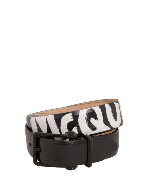 Кожаный Ремень С Логотипом 4см Alexander McQueen для него, цвет: Black