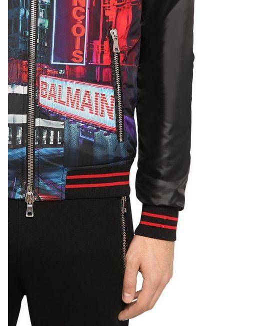 Bomber En Satin Tech Imprimé Balmain pour homme en coloris Multicolor