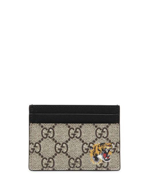 メンズ Gucci ベージュ GG スプリーム タイガー カード ホルダー Natural