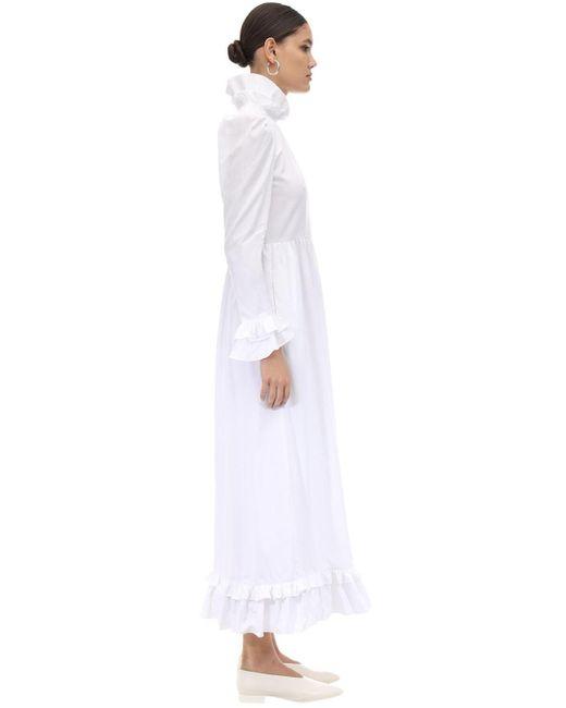 BATSHEVA ラッフルドコットンポプリンロングドレス White