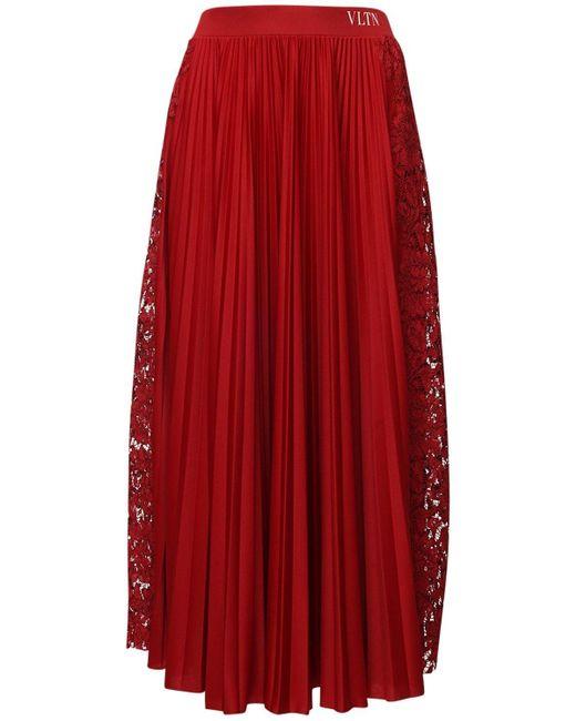 Плиссированная Юбка Из Джерси И Кружева Valentino, цвет: Red