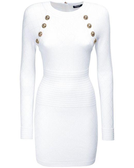 Balmain ビスコースブレンドミニドレス White