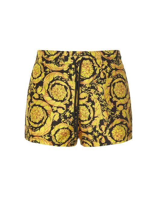 メンズ Versace バロックプリント ナイロン水着 Yellow