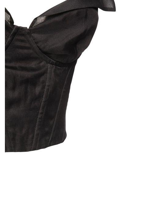 Шелковый Топ Со Шнуровкой На Спине Brock Collection, цвет: Black