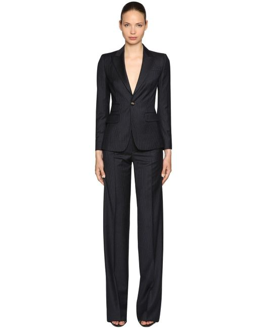 DSquared² Blue Pinstriped Virgin Wool Suit