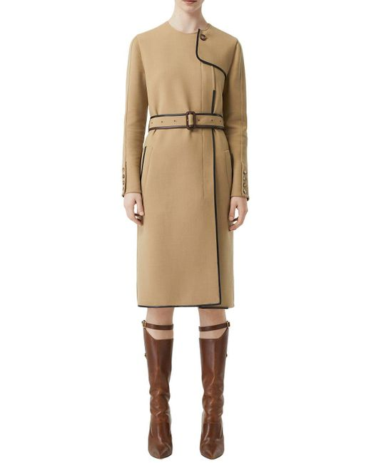 Burberry Wool Blend Coat W/ Leather Details Natural