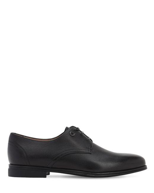 Ботинки Из Кожи Spencer Ferragamo для него, цвет: Black