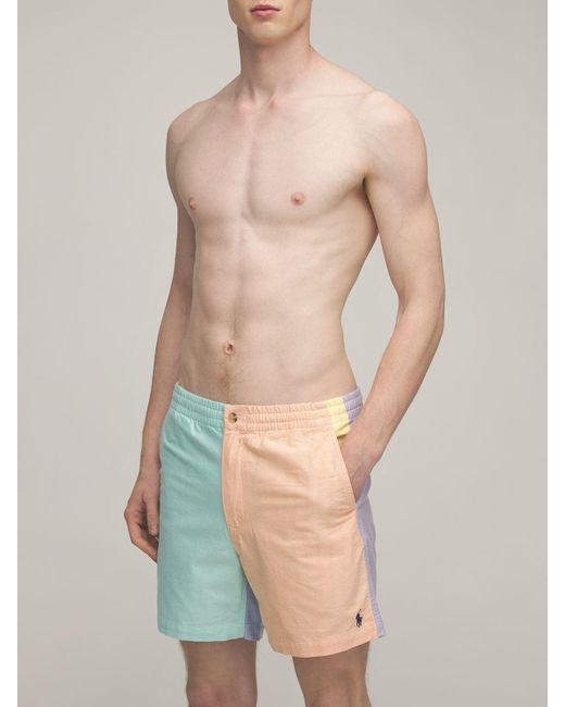 メンズ Polo Ralph Lauren コットンオックスフォードビーチ水着 Blue