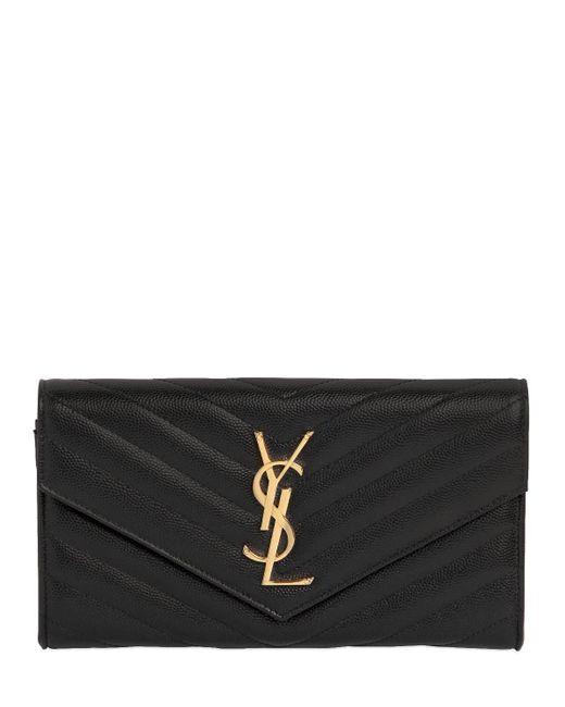 Кошелек Из Стеганой Кожи Saint Laurent, цвет: Black