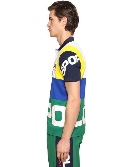 メンズ Polo Ralph Lauren テクノピケ ポロシャツ Blue