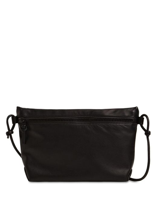 Bottega Veneta Black Medium Waterproof Leather Pouch W/ Strap for men