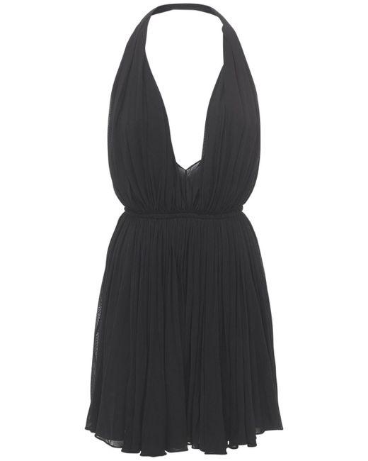 Saint Laurent Black Minikleid Aus Viskosekrepp Mit Tiefem V-ausschnitt