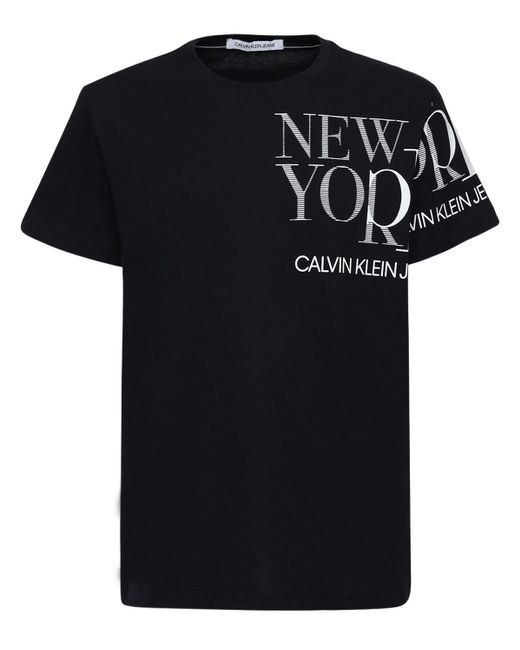 メンズ Calvin Klein コットンジャージーtシャツ Black