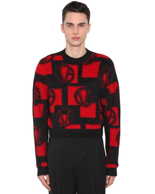Свитер Из Смешанной Шерсти Versace для него, цвет: Red
