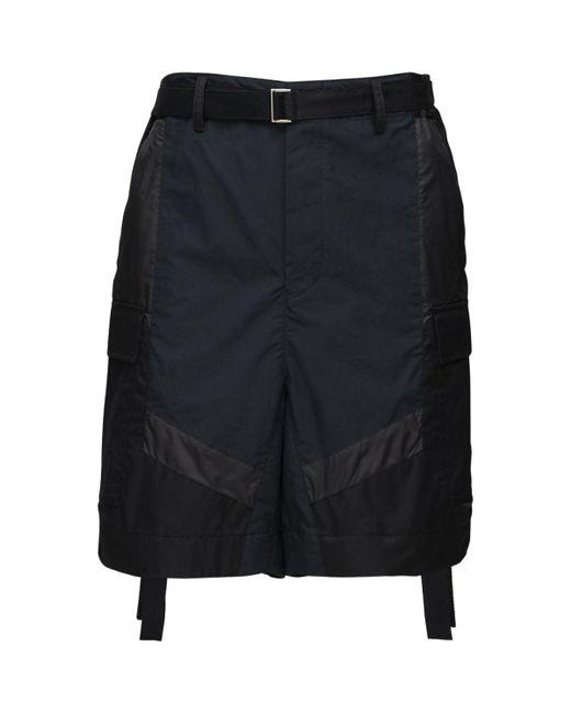 Shorts Cargo In Twill Di Nylon di Sacai in Black da Uomo