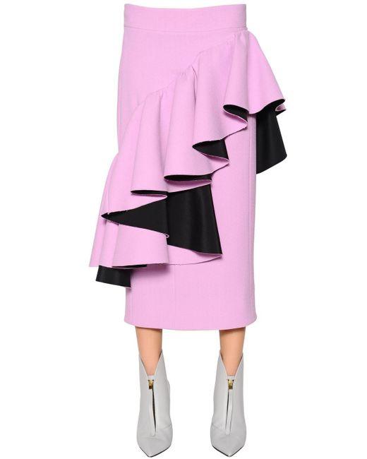 Юбка Из Вискозного И Хлопкового Крепа С Оборками Marni, цвет: Pink