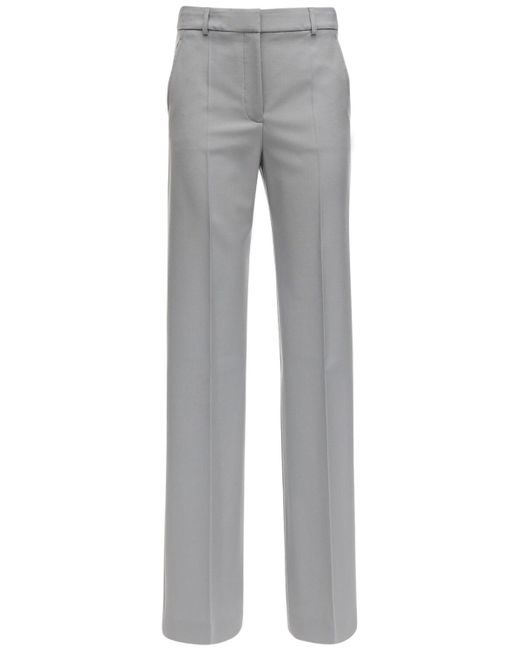 Stella McCartney Wool Gabardine Straight Leg Pants Gray