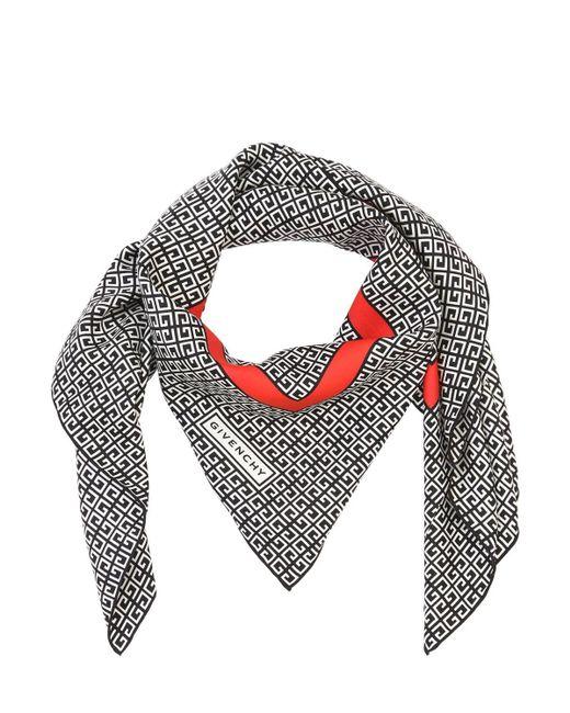 Givenchy サテン プリントスカーフ Gray