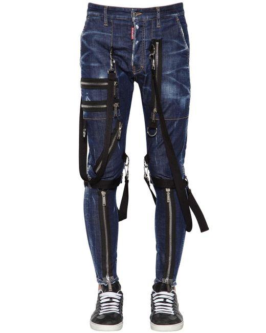 DSquared² Blue 15cm Military Cotton Denim Jeans for men