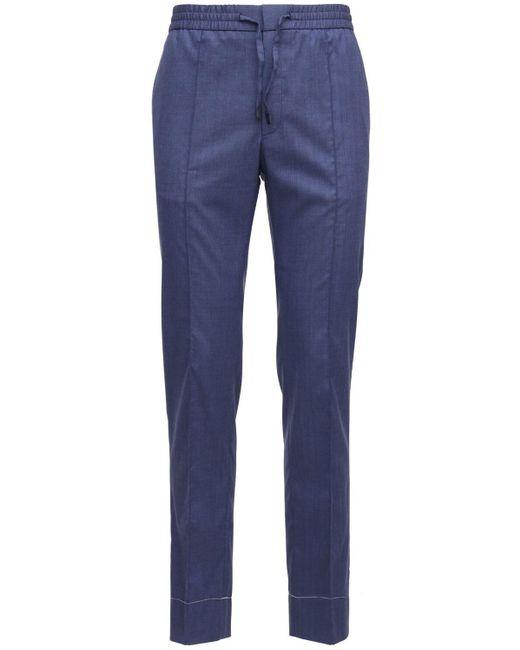 メンズ Brioni Sydney ウール, リネン, シルクパンツ 19cm Blue