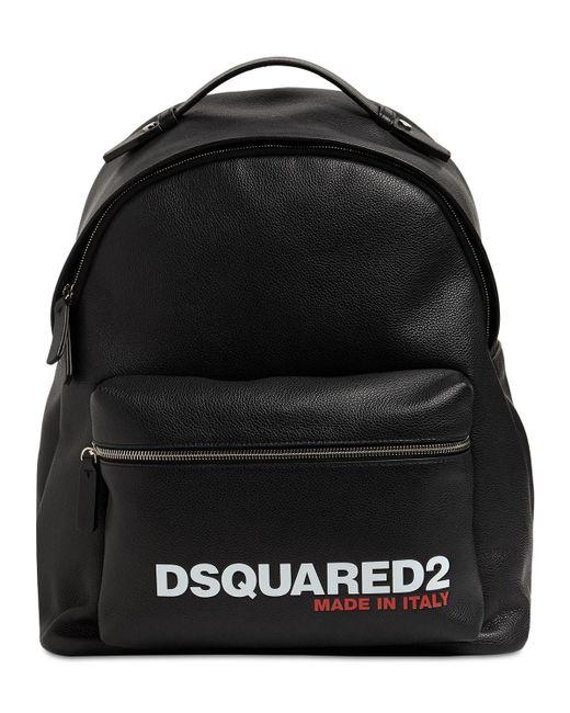 メンズ DSquared² レザーバックパック Black