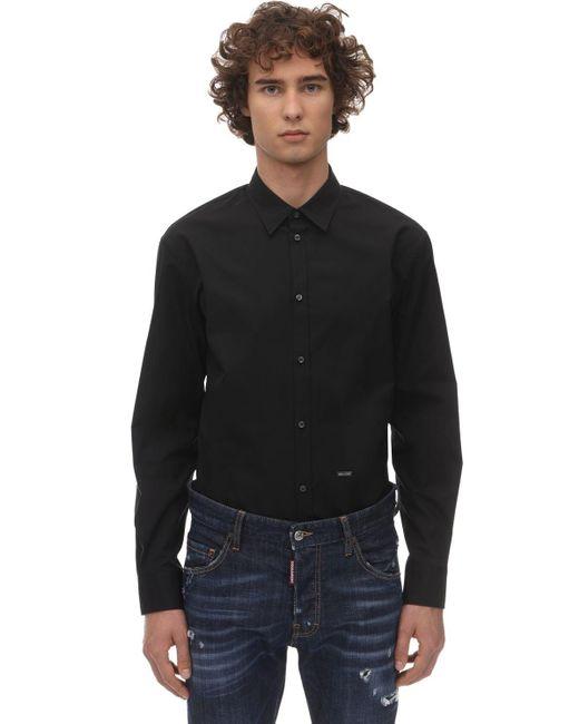 メンズ DSquared² コットンポプリンシャツ Black