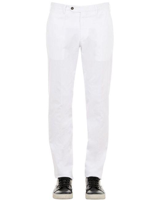 メンズ Lardini コットンブレンドポプリンパンツ 18cm White