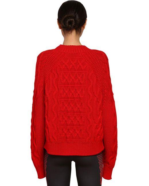 Suéter De Punto De Lana Y Algodón Givenchy de color Red