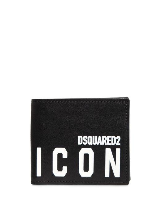 メンズ DSquared² Icon レザーコインウォレット Black