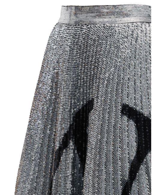Valentino Goロゴ プリーツスパンコールスカート Black