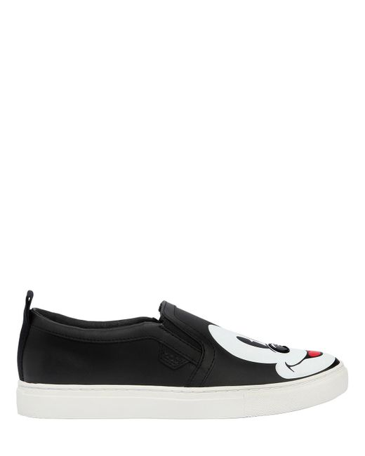 MOA - Black Disney Printed Leather Slip-on Sneakers - Lyst