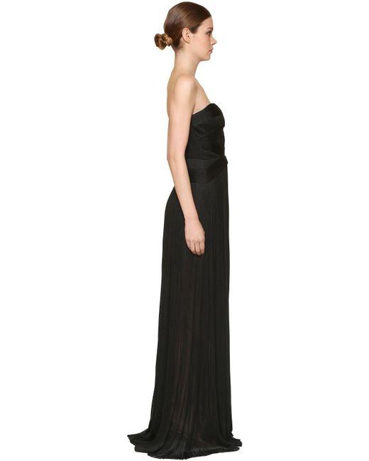 Maria Lucia Hohan メタリックシルクチュール ベアトップロングドレス Black